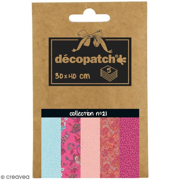 Papiers Décopatch Pocket - Collection n 21 - 30 x 40 cm - 5 pcs - Photo n°1