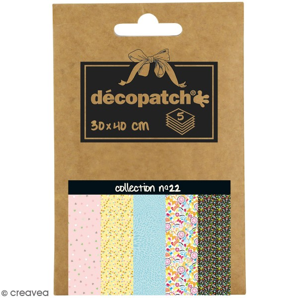 Papiers Décopatch Pocket - Collection n 22 - 30 x 40 cm - 5 pcs - Photo n°1