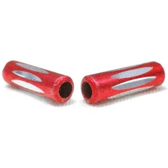 10 Perles Tubes 10mm Rouge