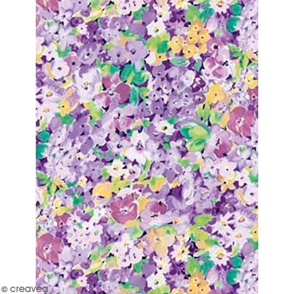 Décopatch Fleurs violettes 828 - 1 feuille - Photo n°1