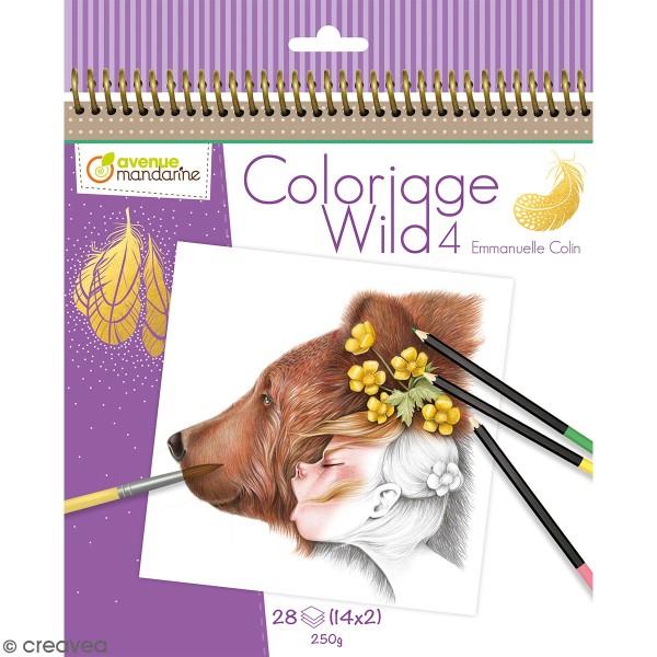 Carnet de coloriage collector Wild 4 - 28 visages à colorier - Photo n°1