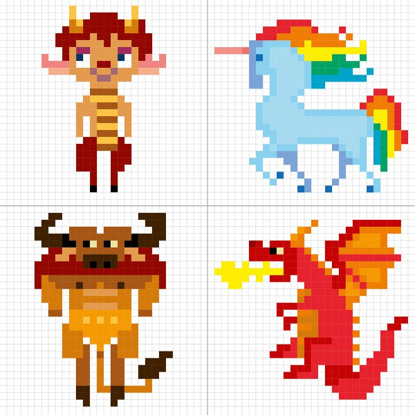 Coloriage Graffy Pixel - Créatures fantastiques - 24 pages - Photo n°3