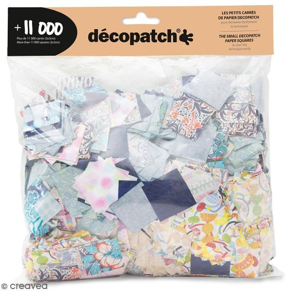 Assortiment carrés Décopatch 3 x 3 cm - Couleurs et motifs aléatoires -  11 000 pcs - Photo n°1