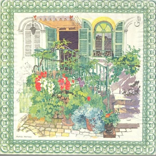 4 Serviettes en papier De Paris à Giverny Format Lunch Decoupage Decopatch 8004PAGLSE Gien - Photo n°1