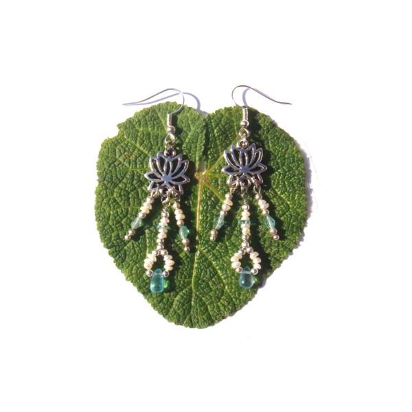 Boucles d'oreilles Apatite Fine, Perles de Culture et Lotus 7 CM de hauteur environ - Photo n°2