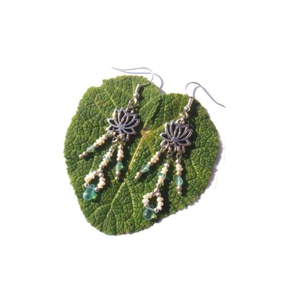 Boucles d'oreilles Apatite Fine, Perles de Culture et Lotus 7 CM de hauteur environ - Photo n°3