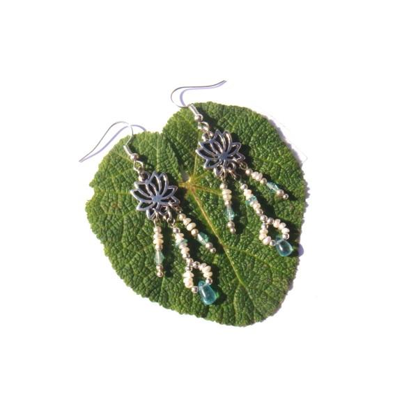 Boucles d'oreilles Apatite Fine, Perles de Culture et Lotus 7 CM de hauteur environ - Photo n°1