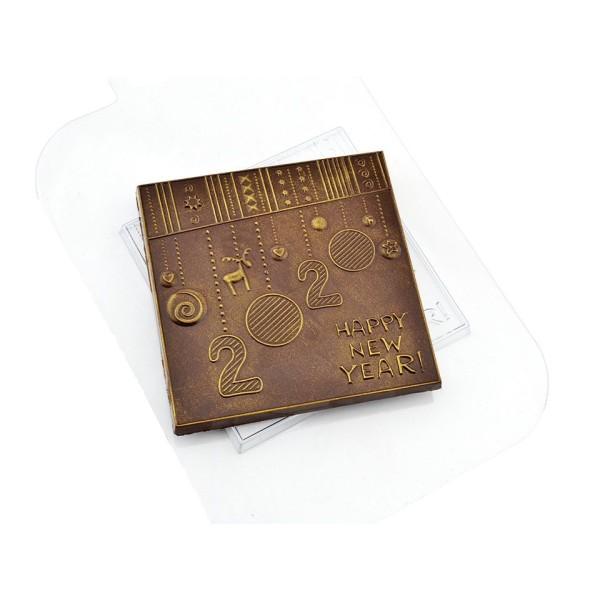 1pc Joyeux Noël bonne et Heureuse Année 2020 Carré en Plastique de Chocolat de Fabrication de Savon - Photo n°1