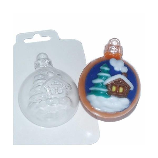 1pc décoration d'Arbre de Noël Ronde, Maison, Noël, Noël, Ornement en Plastique de Savon la Fabricat - Photo n°1
