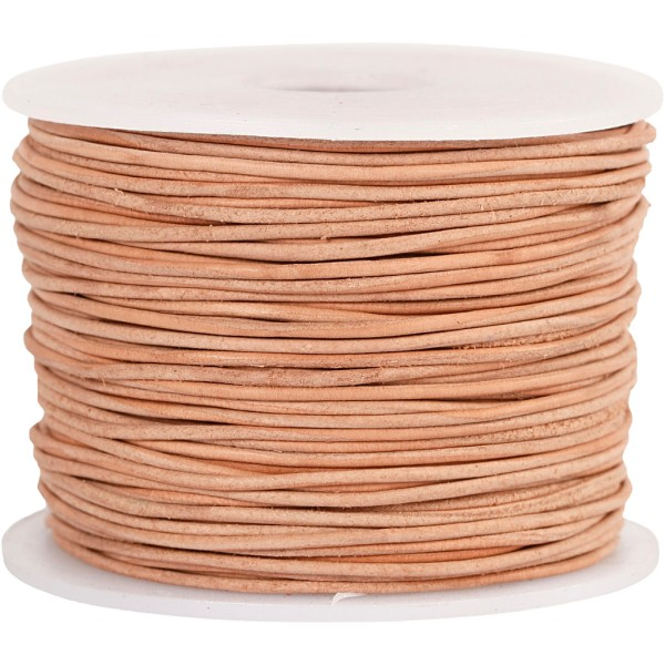 Corde de cuir, ép. 1 mm, naturel, 50m - Photo n°1