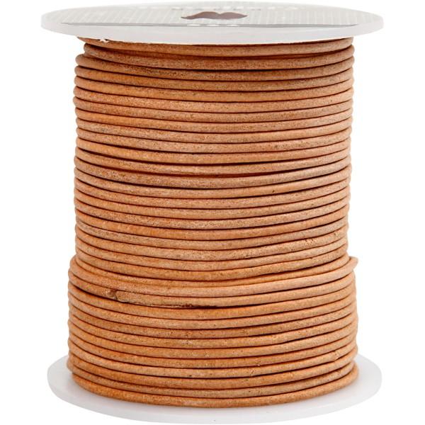 Corde de cuir, ép. 2 mm, naturel, 50m - Photo n°1