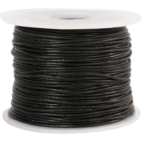 Cordon de cuir, ép. 1 mm, noir, 50m - Photo n°1