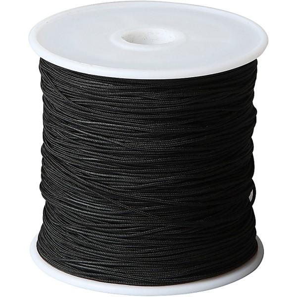 Cordon pour macramé, ép. 1 mm, noir, 50m - Photo n°1