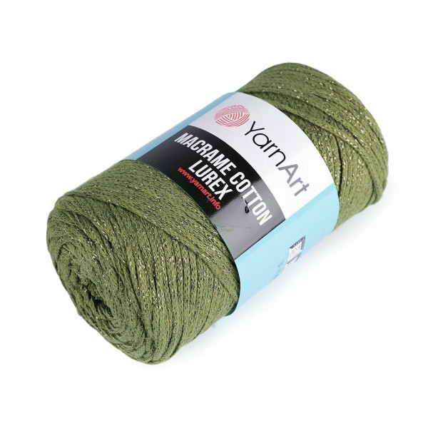 1pc (741) Vert Olive d'Or du Fil à Tricoter Macramé de Coton Lurex 250g, Fil de Coton, Crochet de Co - Photo n°1