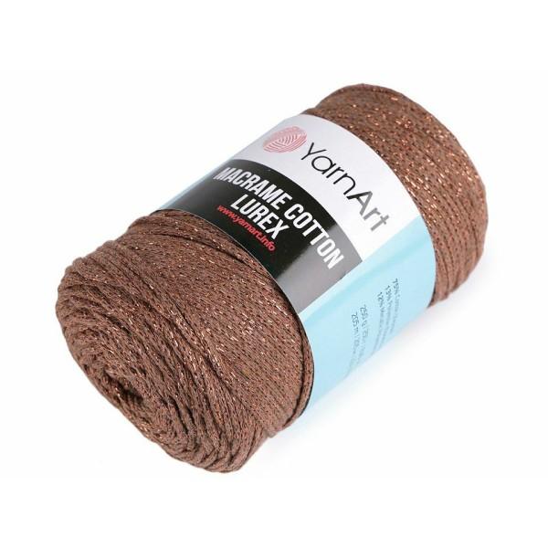 1pc (742) Brun clair à Tricoter Macramé de Coton Lurex 250g, Fil de Coton, Crochet de Coton, corde d - Photo n°1