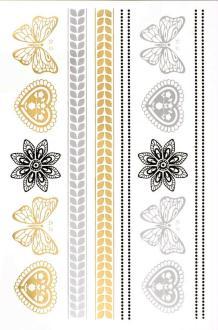 Tatouage temporaire Metallic Tattoos - Bracelets, Coeurs, Papillons - 14 pcs