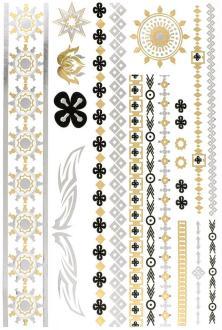 Tatouage temporaire Metallic Tattoos - Bracelets et soleils - 17 pcs