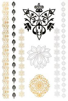 Tatouage temporaire Metallic Tattoos - Fleurs - 8 pcs