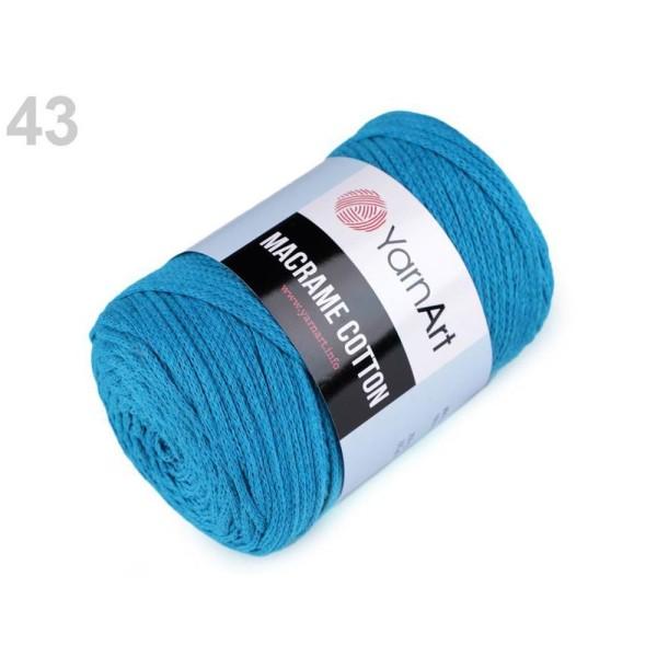 1pc (780) Bleu Saphir Fil à Tricoter Macramé de Coton 250g, le Fil à la Main, Fil de Coton, Crochet - Photo n°1