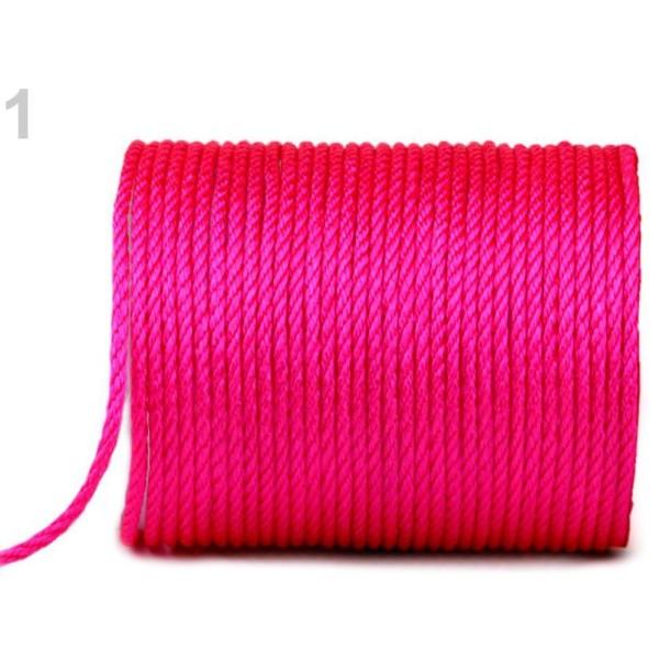 25m Rose Flashy Neon corde Ø3mm, Cordon de Soutache, Cordon Macrame, Cordon de la Décoration, de la - Photo n°1