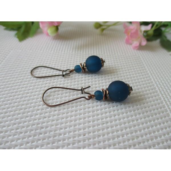 Kit boucles d'oreilles perle bleu marine et apprêts cuivre rouge - Photo n°2