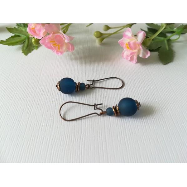 Kit boucles d'oreilles perle bleu marine et apprêts cuivre rouge - Photo n°1