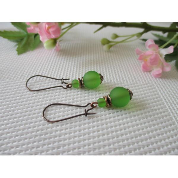 Kit boucles d'oreilles apprêts cuivre et perles vertes - Photo n°2