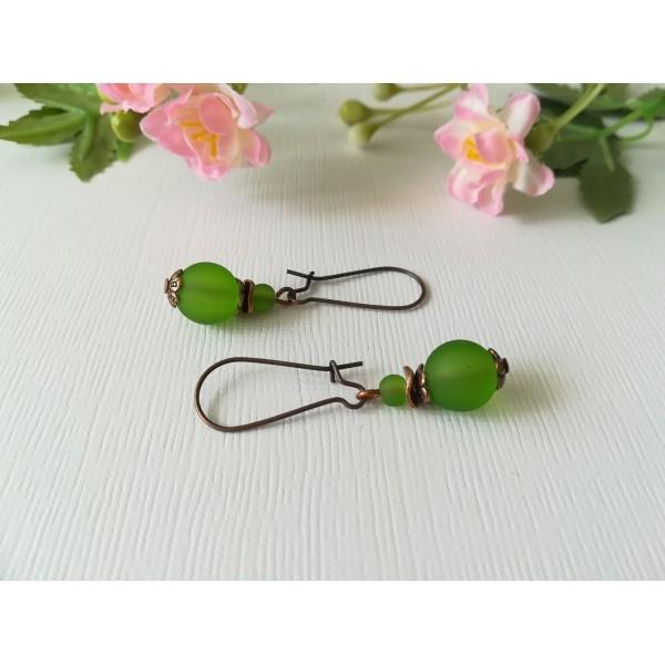 Kit boucles d'oreilles apprêts cuivre et perles vertes - Photo n°1
