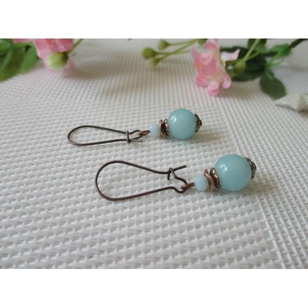 Kit boucles d'oreilles perle bleue et apprêts cuivre rouge - Photo n°2