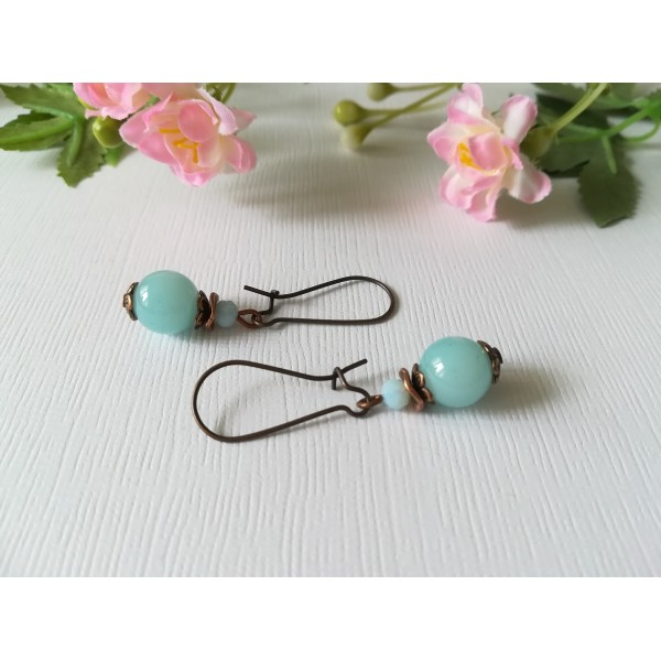 Kit boucles d'oreilles perle bleue et apprêts cuivre rouge - Photo n°1