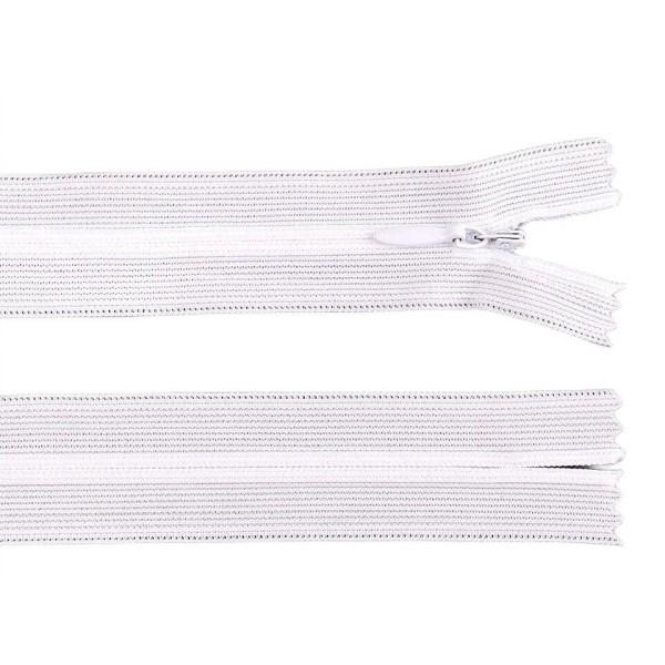 1pc 101 Blanc Invisible en Nylon / Bobine de fermeture éclair Largeur de 3mm Longueur 40cm Dederon, - Photo n°1