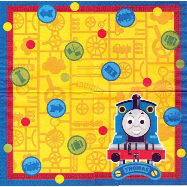 4 Serviettes en papier Train Thomas Format Lunch Decoupage Decopatch 56650-12 - Photo n°1