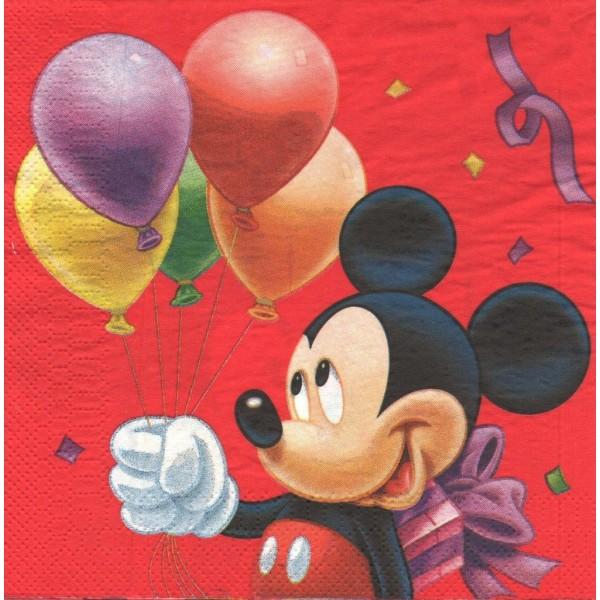 4 Serviettes en papier Mickey Format Lunch Decoupage Decopatch 56617-12 - Photo n°1