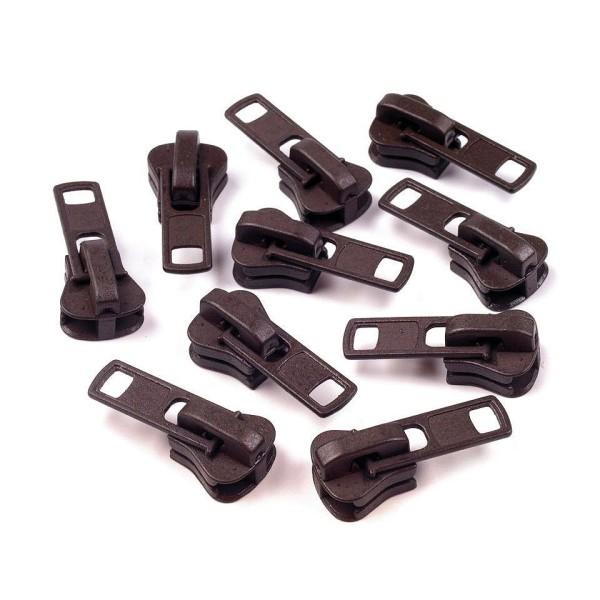 10pc 2 (304) Brun Chocolat Curseur Pour Fermetures à glissière en Plastique 8mm, Sac à Fermoir, Sac - Photo n°1