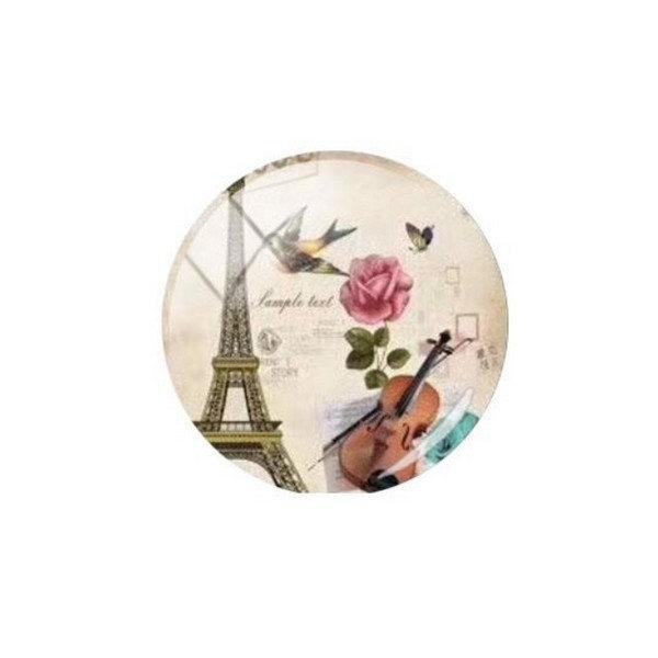 1 cabochon rond en verre 25 mm VINTAGE PARIS TOUR EIFFEL B - Photo n°1