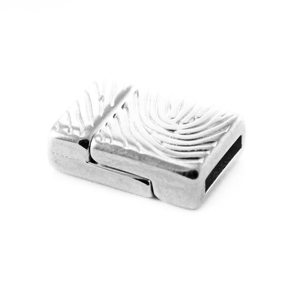 Fermoir magnétique 20x14tr10 mm empreinte argenté - Photo n°1