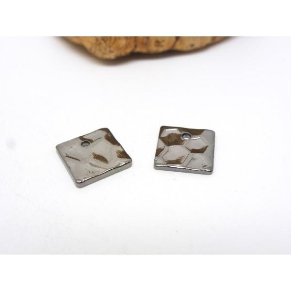 4 Breloques / sequins carré martelé 8*8mm laiton gris anthracite, gunmetal - Photo n°1