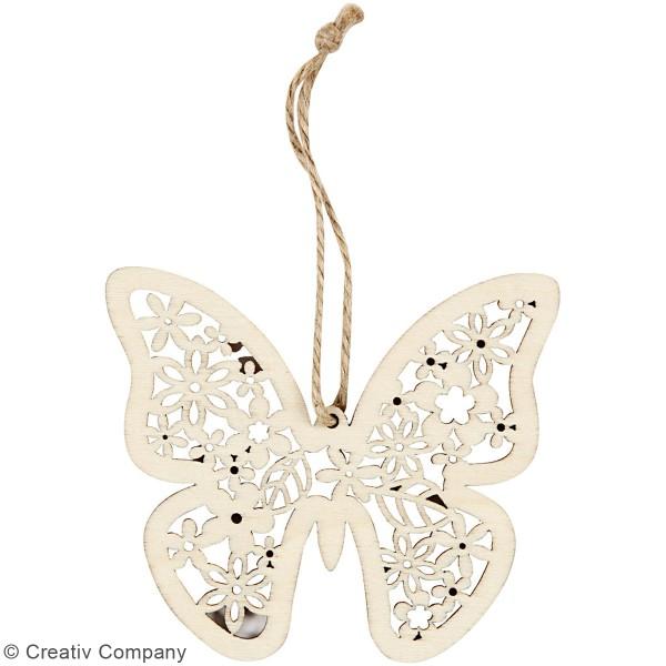 Suspensions en bois 10 cm - Papillon, fleur et oiseau - 3 pcs - Photo n°5
