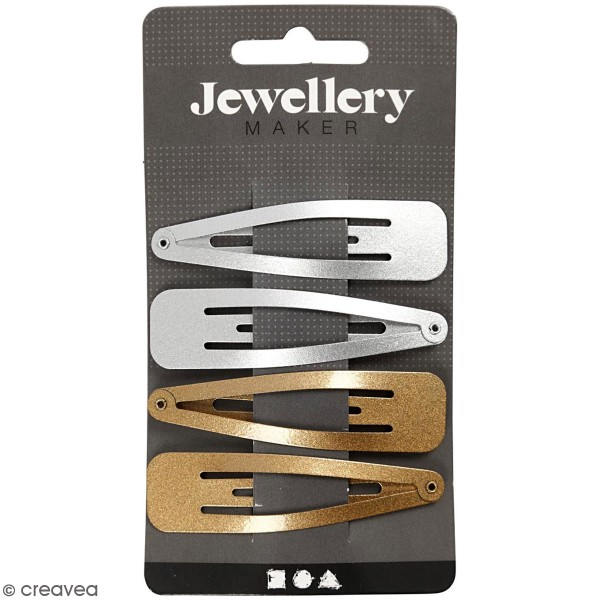 Barrettes dorées et argentées pour cheveux - 17 x 66 mm - 4pcs - Photo n°1