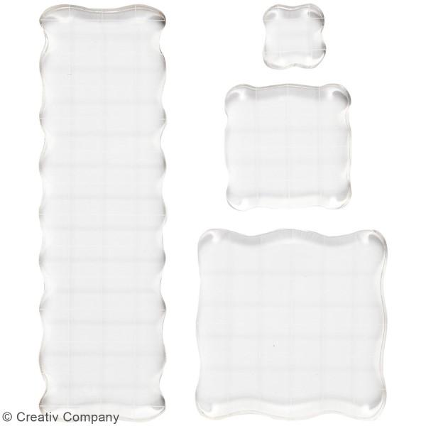 Assortiment de blocs acryliques pour tampons - de 2,5 à 16,5 cm - 4 pcs - Photo n°2