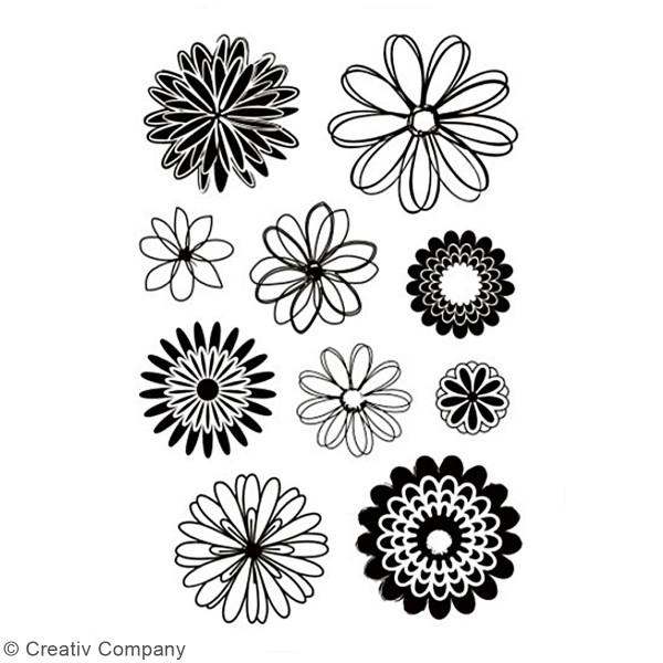 Set de tampons transparents - Fleurs - 10 pcs - Photo n°2