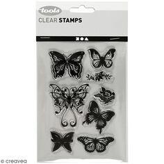 Set de tampons transparents - Papillons - 8 pcs