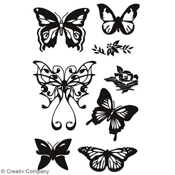 Set de tampons transparents - Papillons - 8 pcs - Photo n°2