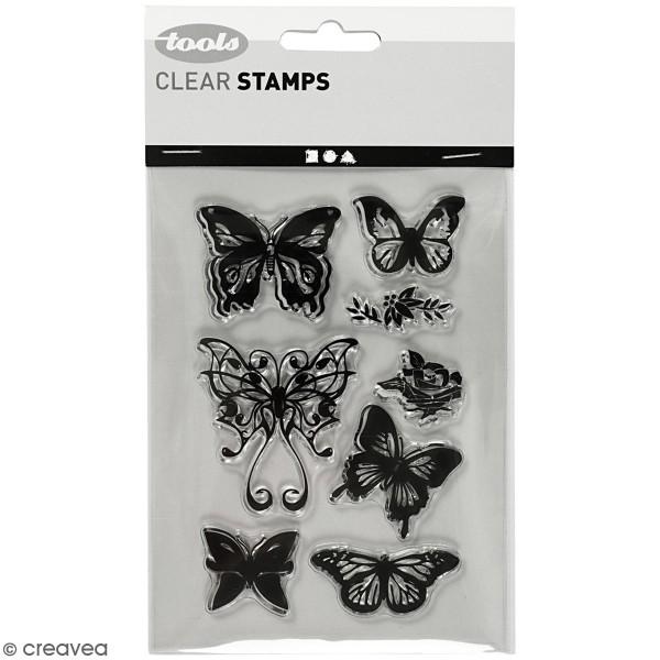 Set de tampons transparents - Papillons - 8 pcs - Photo n°1