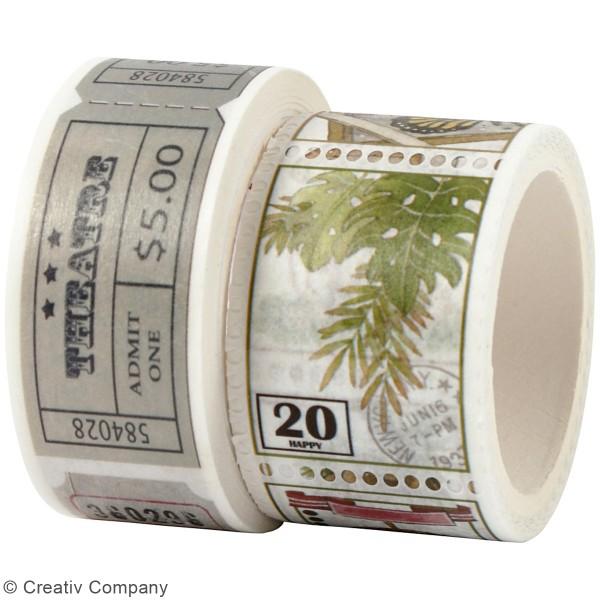 Masking tape Tickets et Timbres vintage - 20 et 25 mm de largeur - 2 rouleaux - Photo n°2