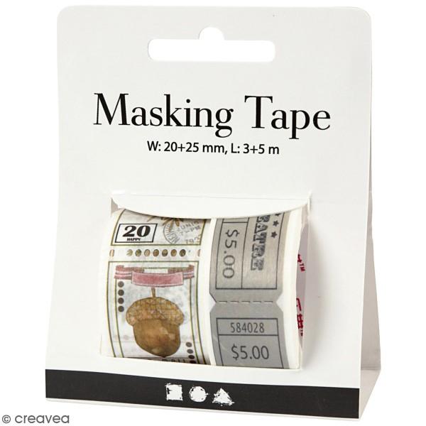Masking tape Tickets et Timbres vintage - 20 et 25 mm de largeur - 2 rouleaux - Photo n°1