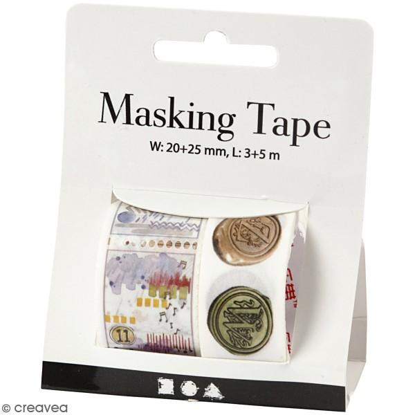 Masking tape Timbres et cachets vintage - 20 et 25 mm de largeur - 2 rouleaux - Photo n°1