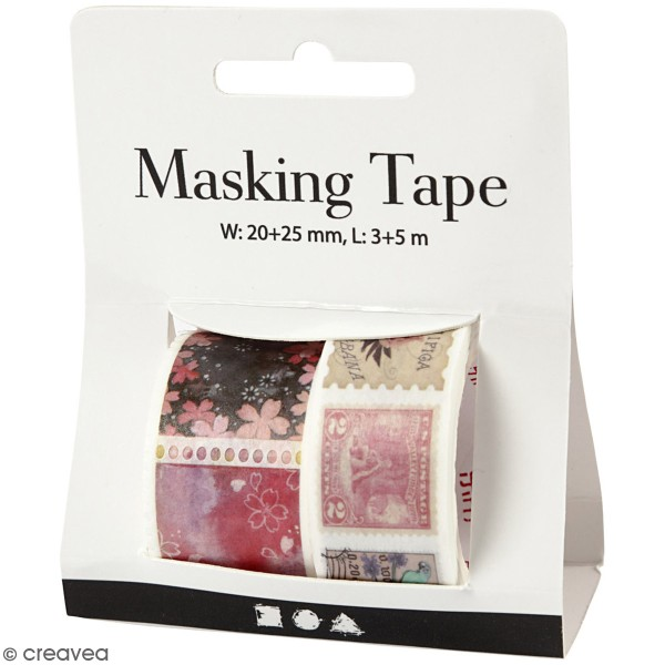 Masking tape Timbres vintage - 20 et 25 mm de largeur - 2 rouleaux - Photo n°1