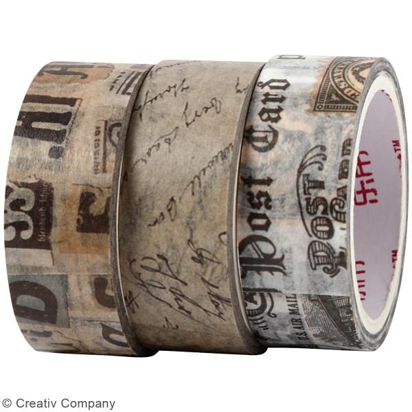 Assortiment de masking tape 15 mm x 5 m - Motifs Vintage - 3 rouleaux - Photo n°2