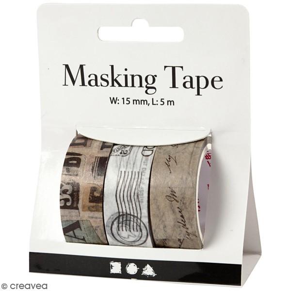 Assortiment de masking tape 15 mm x 5 m - Motifs Vintage - 3 rouleaux - Photo n°1